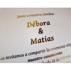 Tarjeta de Casamiento  Dorado, Plata o Negro