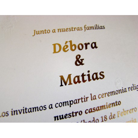 Invitacion Hot Stamping Casamiento Dorado Plata