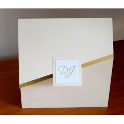 Invitación de casamiento tríptico con Franja en dorado
