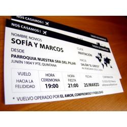 Invitación casamiento boarding pass, tarjeta pre embarque