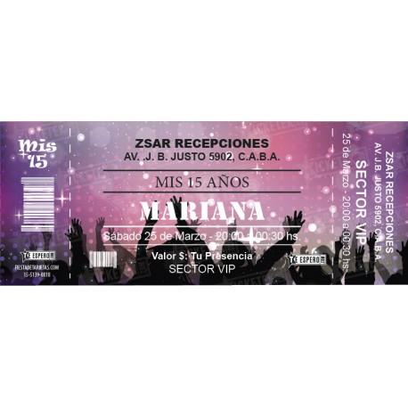 Invitación cumple 15 - Ticket party