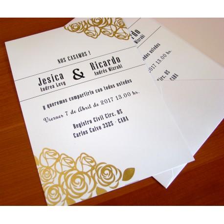 Invitación casasmiento con flores en dorado